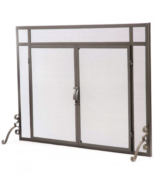 Flat Fireplace Screen With Doors