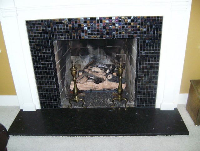 Glass Tile Fireplace Surround Pictures