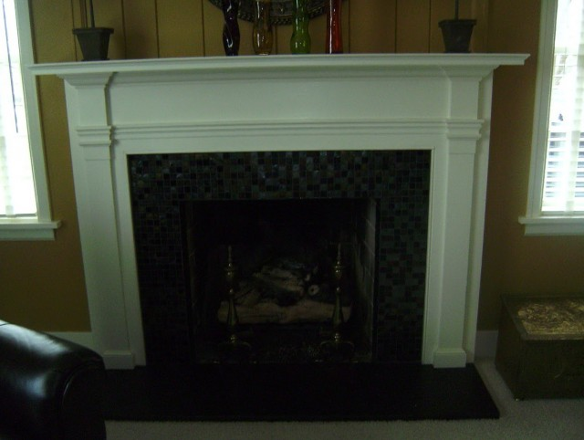 Glass Tile Fireplace Surrounds