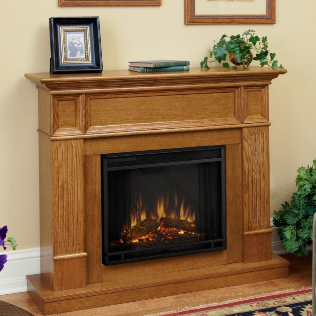 Light Oak Electric Fireplace