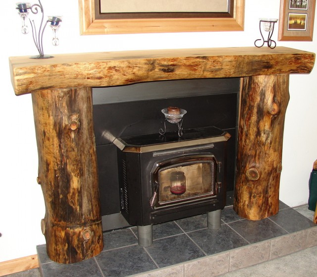 Log Home Fireplace Mantels