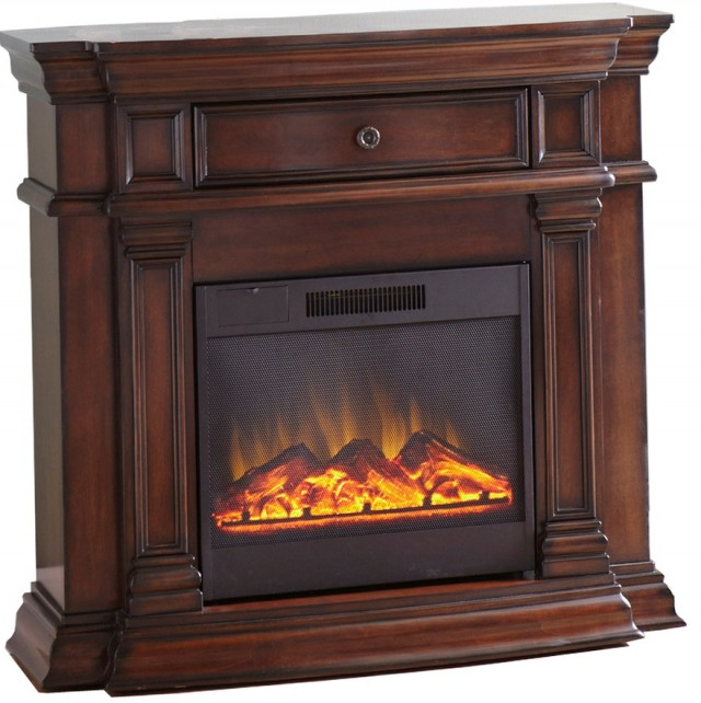 Ludlow 44 In. Media Console Electric Fireplace In Burnished Cherry