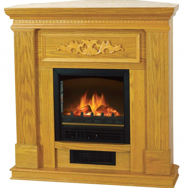 Quality Craft Electric Fireplace — 4500 Btu Oak Finish Model# Qcm650 38a Oak
