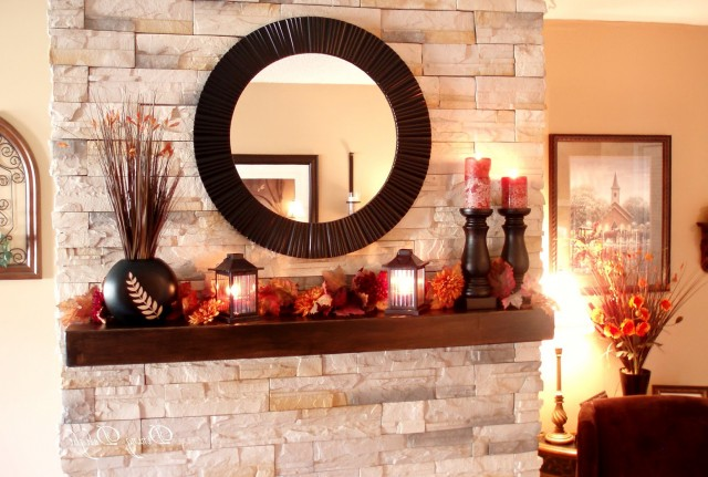Round Mirrors Over Fireplace