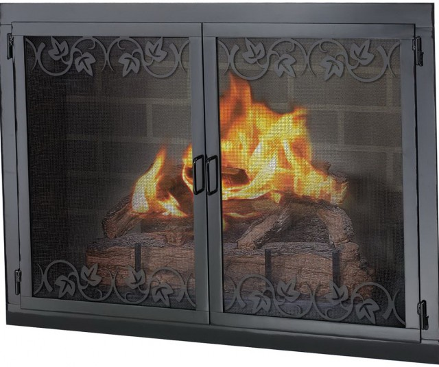 Black Fireplace Glass Doors