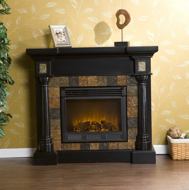 Decor Flame Electric Fireplace For Tvs Up To 40 Black