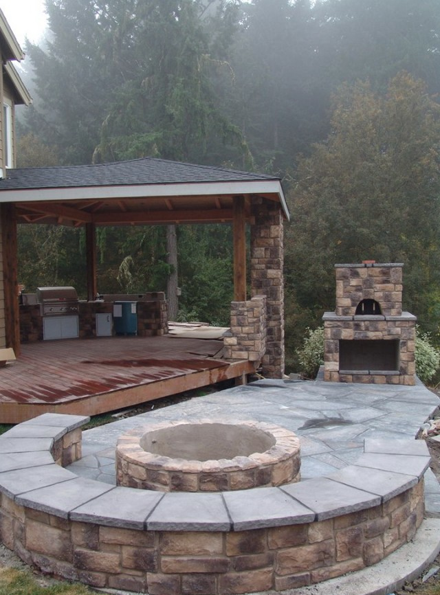 Outdoor Fireplace Covered Patio
