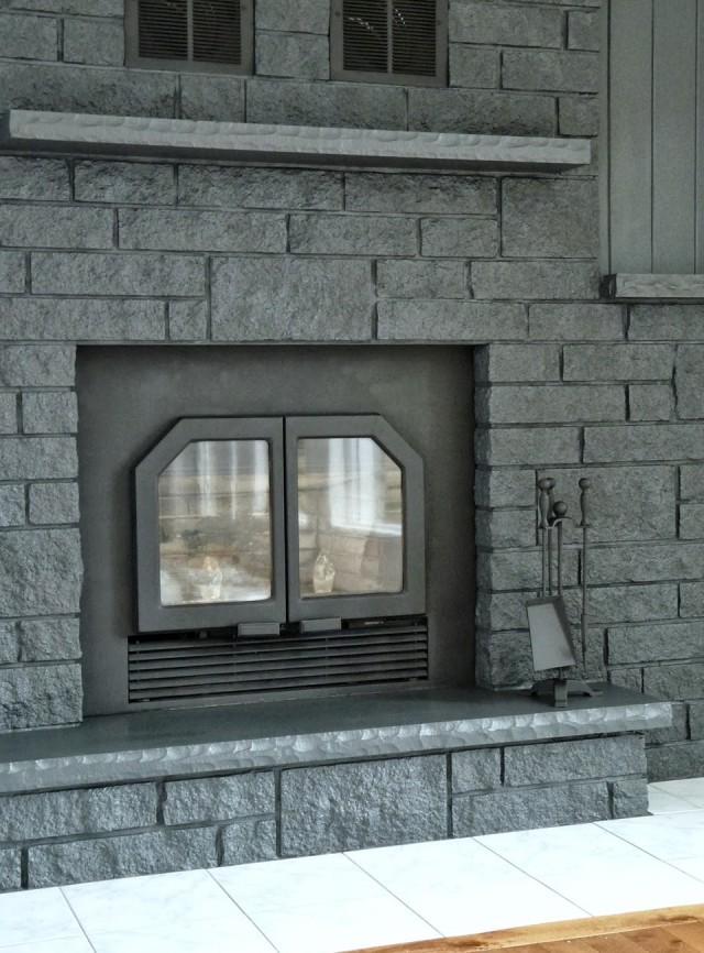 Painted Brick Fireplace Grey