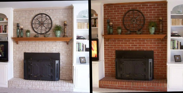 Painted Brick Fireplace Pictures Before And After