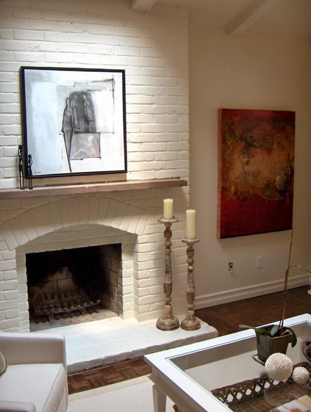 Painted Brick Fireplace White