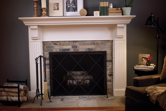 Painted Brick Fireplace With Wood Mantel