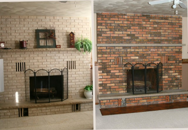 Painting Brick Fireplace Before And After