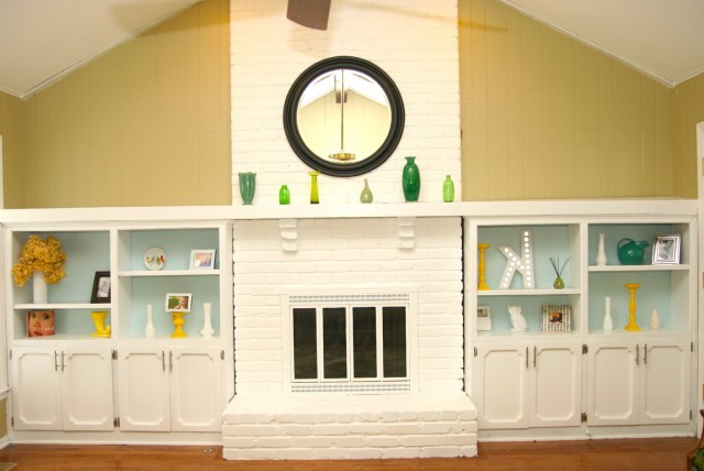 Painting Brick Fireplace White Before And After