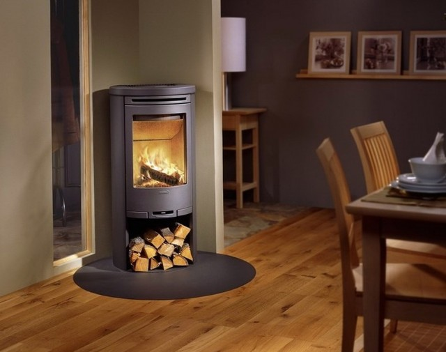 Round Freestanding Wood Burning Fireplace