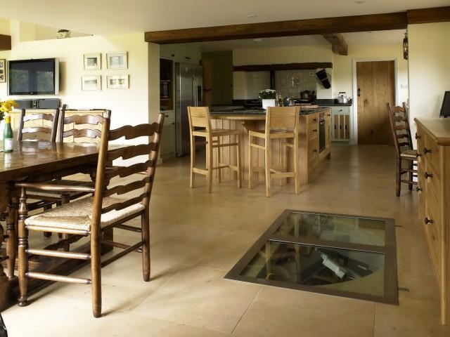 Spiral Staircase Wine Cellar In Kitchen