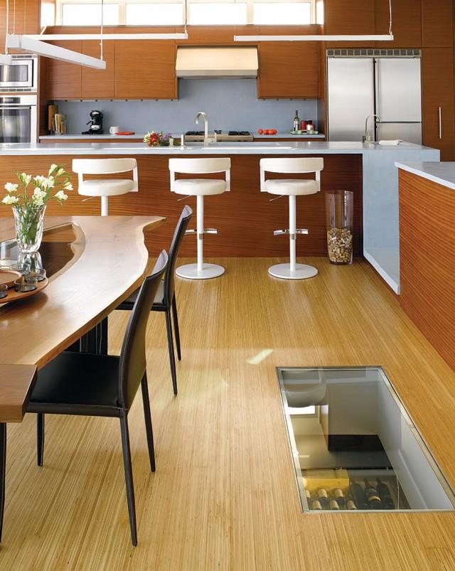 Spiral Wine Cellar In Kitchen Floor