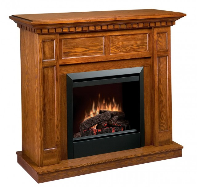 Style Selections 37 In W 4 600 Btu Premium Oak Wood Fan Forced Electric Fireplace With Thermostat