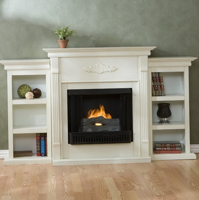 White Gel Fireplace With Bookcase
