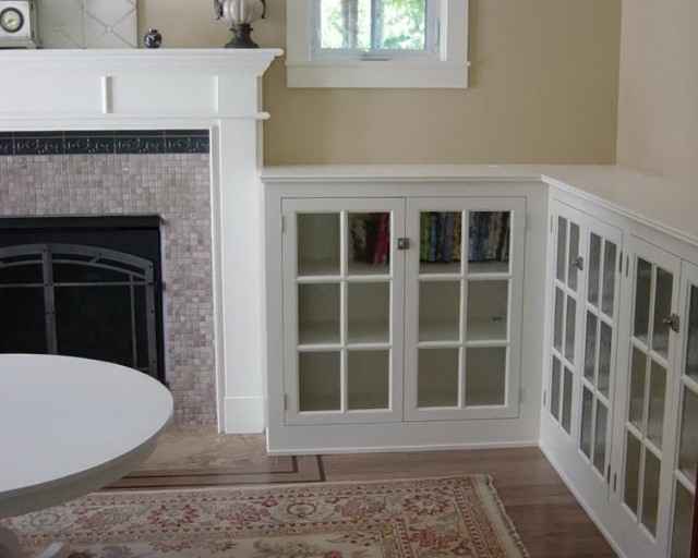 White Built Ins Around Fireplace