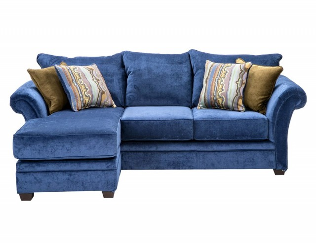 Blue Leather Sectional Sofa With Chaise