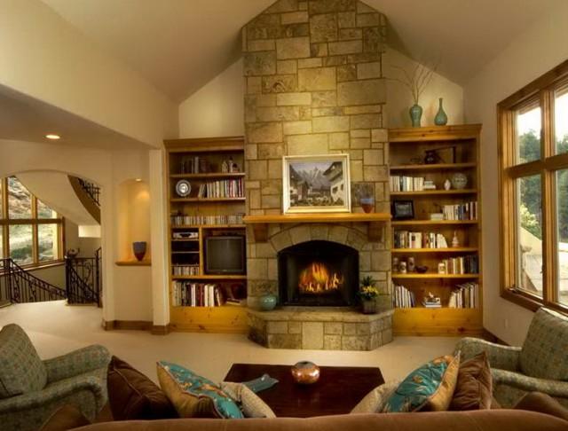 Bookshelves Around Fireplace Plans