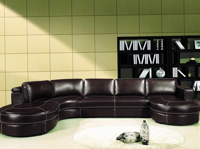 Brown Leather Sectional Sofa With Chaise