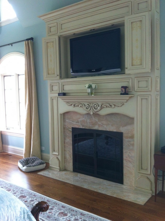 Distressed Tv Console With Fireplace