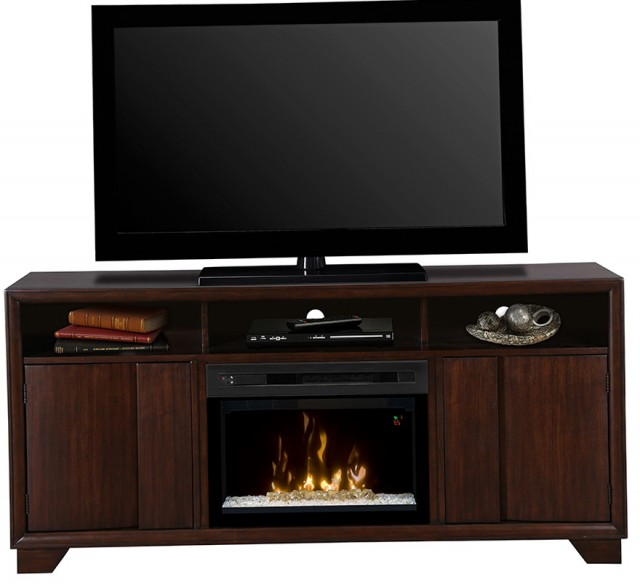 Electric Fireplace Media Center With Glass Embers
