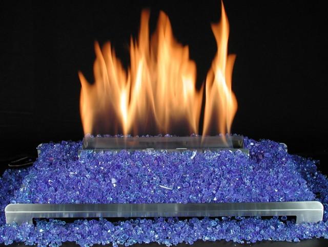 Gas Fireplace Rocks Glass
