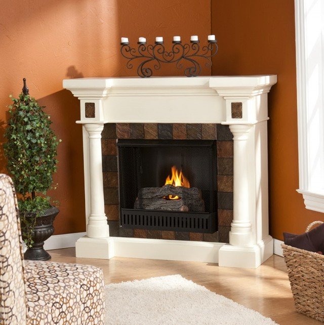 Gel Fuel Fireplace White