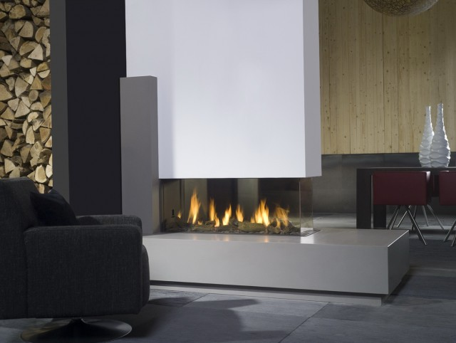 Modern Three Sided Fireplace
