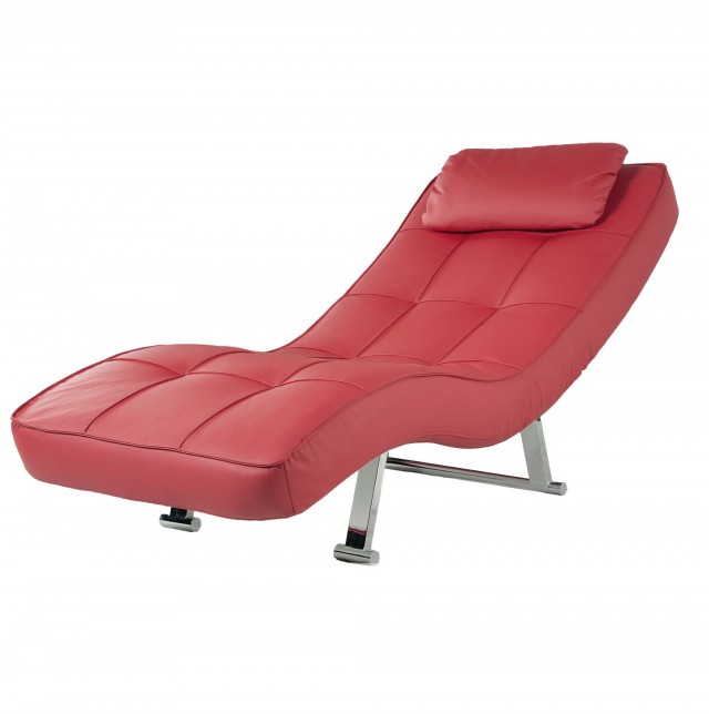 Red Leather Chaise Lounge Chairs