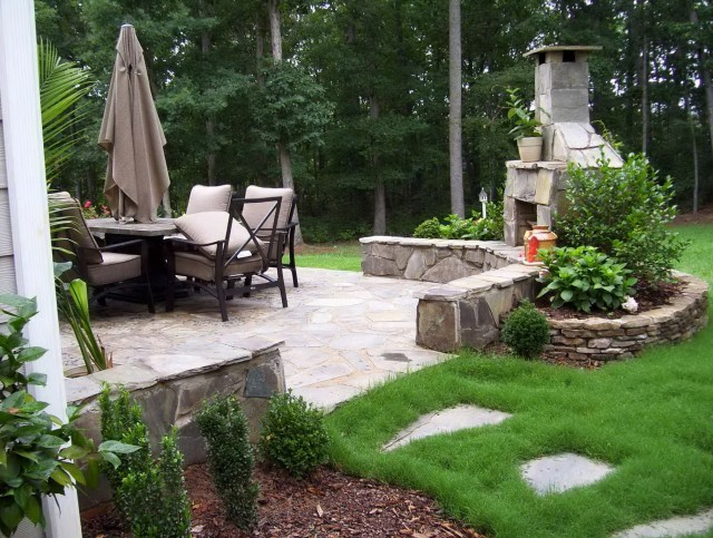 Small Corner Outdoor Fireplace