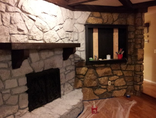 Stone Wall Fireplace Makeover