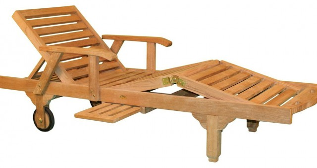 Teak Chaise Lounge With Arms