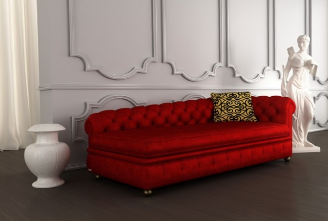 Tufted Chaise Leather Lounge Chair Red