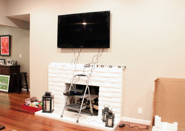 Tv Mounted Above Fireplace Where To Put Cable Box