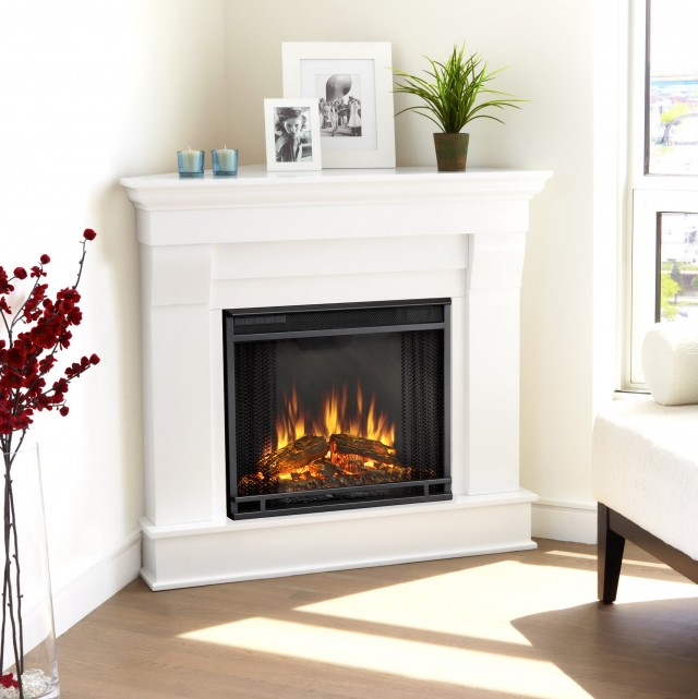White Corner Electric Fireplace Media Center
