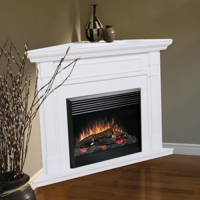 White Electric Corner Fireplace