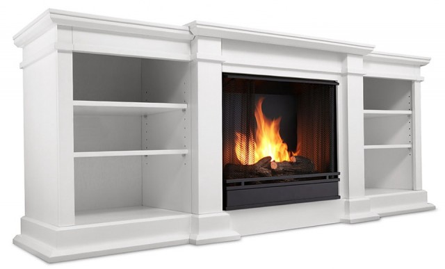 White Electric Fireplace Media Center
