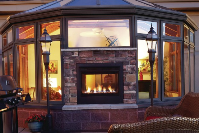 2 Sided Gas Fireplace Indoor Outdoor
