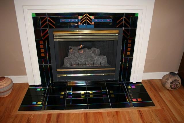Black Glass Tile Fireplace Surround