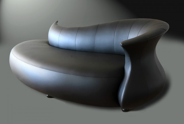 Black Leather Chaise Lounge Sofa