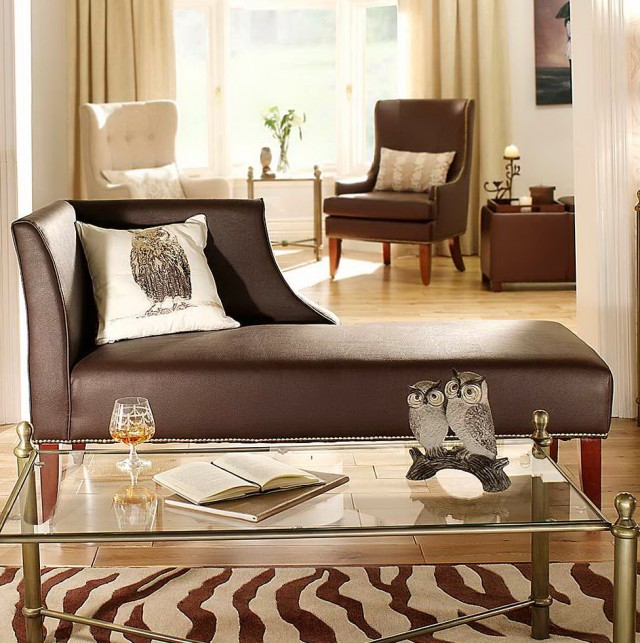 Brown Leather Chaise Longue