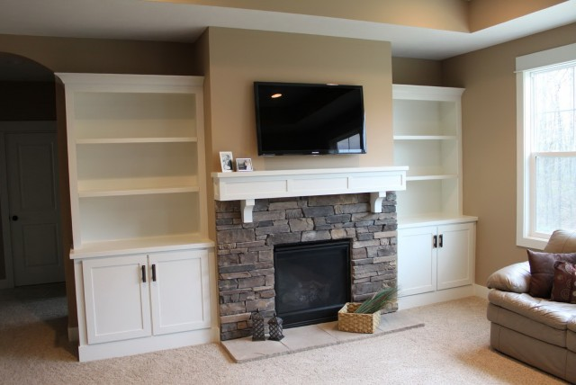 Built In Shelves Around Fireplace Diy