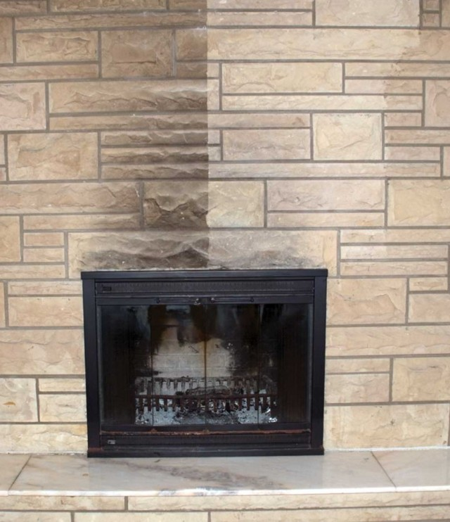Cleaning Brick Fireplace Before And After