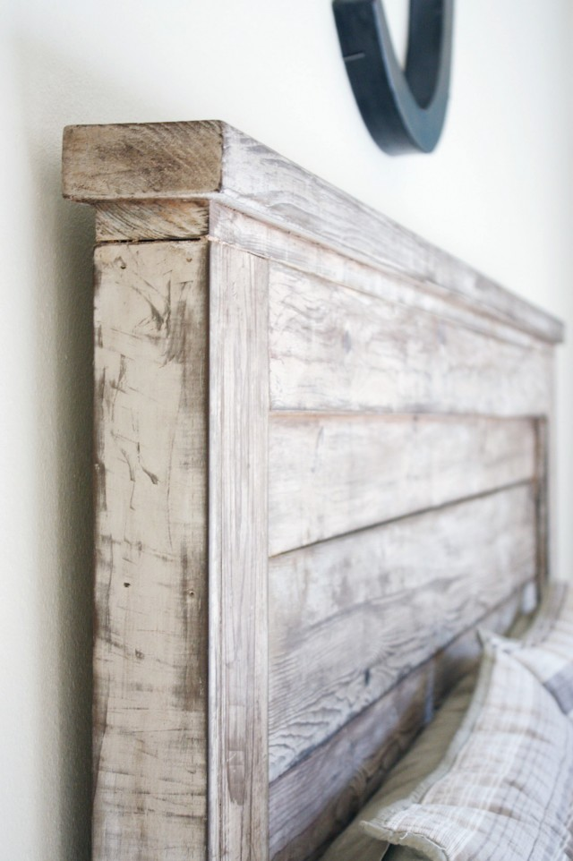 Distressed Wood Headboard King