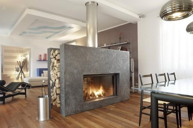 Dual Sided Wood Burning Fireplace