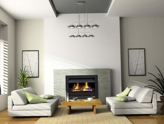 Open Gas Log Fireplace