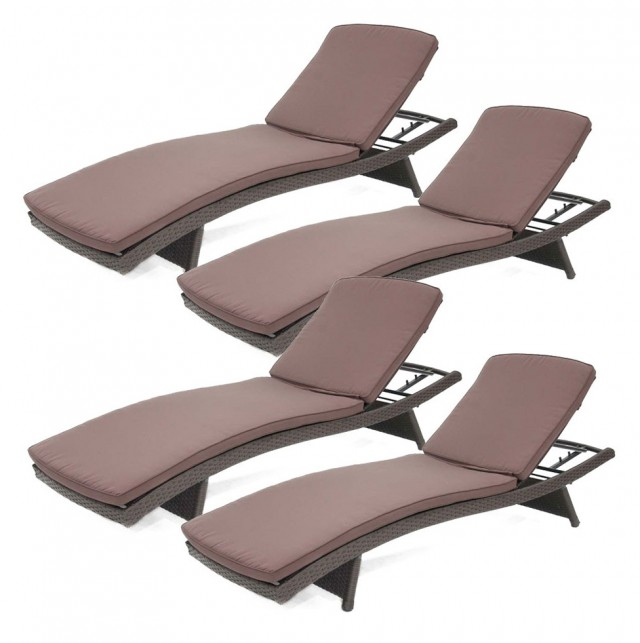Rattan Chaise Lounge 2 Pack